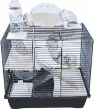 Interzoo hamsterkooi Rocky Plus, zwart/zwart. Afmeting: 43x28,5x54 cm