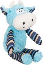 Flamingo Pluche Koe Happy - Hondenspeelgoed - 34 cm - Blauw