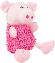 Flamingo Pluche Shaggy Varken - Hondenspeelgoed - 27 cm - Roze