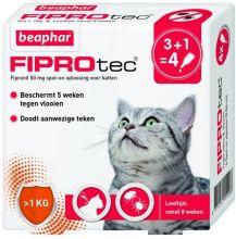 Beaphar Fiprotec Cat - Anti vlooien en tekenmiddel - 3+1 pip >1kg